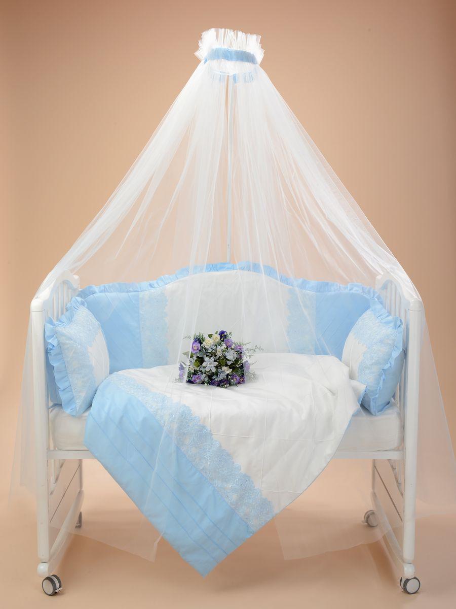 Комплект в кроватку Sweet Baby Сатин Премиум Dolce Vita, 424065, голубой, наволочка 40 x 60, 7 предметов
