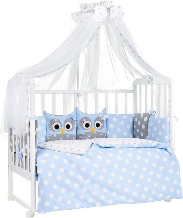 Комплект в кроватку Sweet Baby Uccellino, 424463, голубой, наволочка 40 x 60, 7 предметов