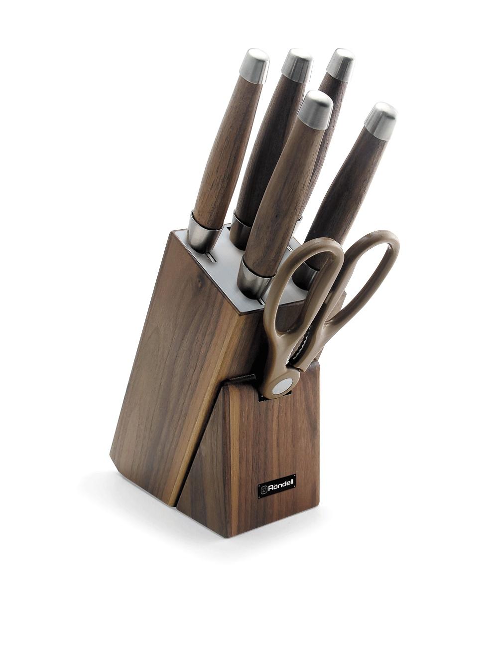 Набор из 5 ножей c ножницами на деревянной подставке Rondell Glaymore