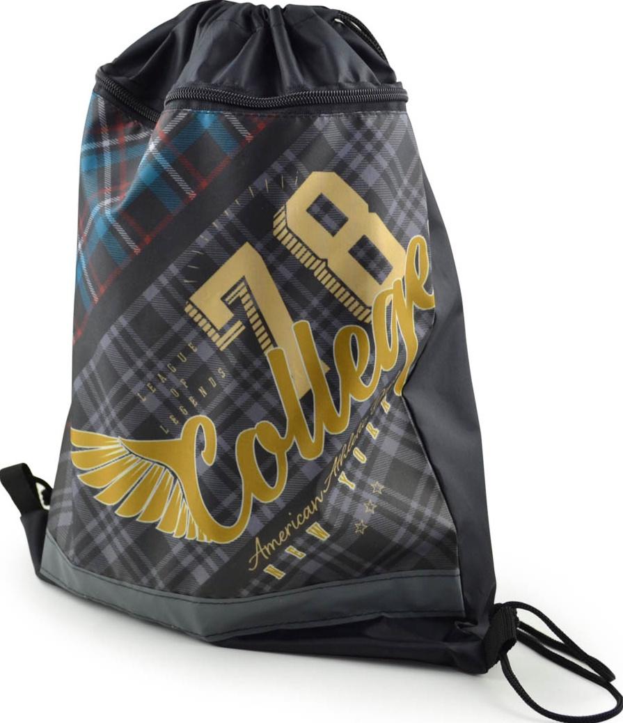 Сумка-мешок для сменной обуви BG College 415*340 мм, с карманом и светоотражающей полосой, на молнии, текстиль с рисунком мешок для обуви zoobles разм 43х32 см с доп карманом на молнии zb ass4306 4