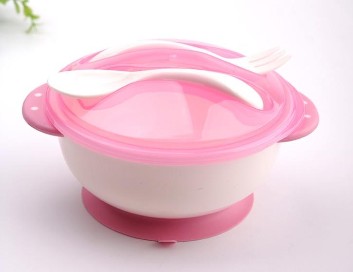 Детская тарелка на присоске с крышкой ложкой вилкой розовое облако посуда сказка тарелка с крышкой на присоске