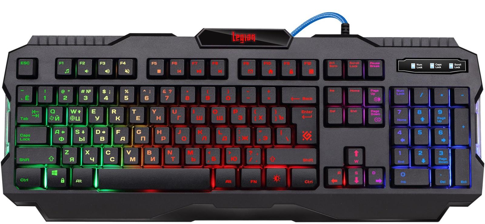Проводная игровая клавиатура Defender Legion GK-010DL RU,RGB подсветка,19 Anti-Ghost