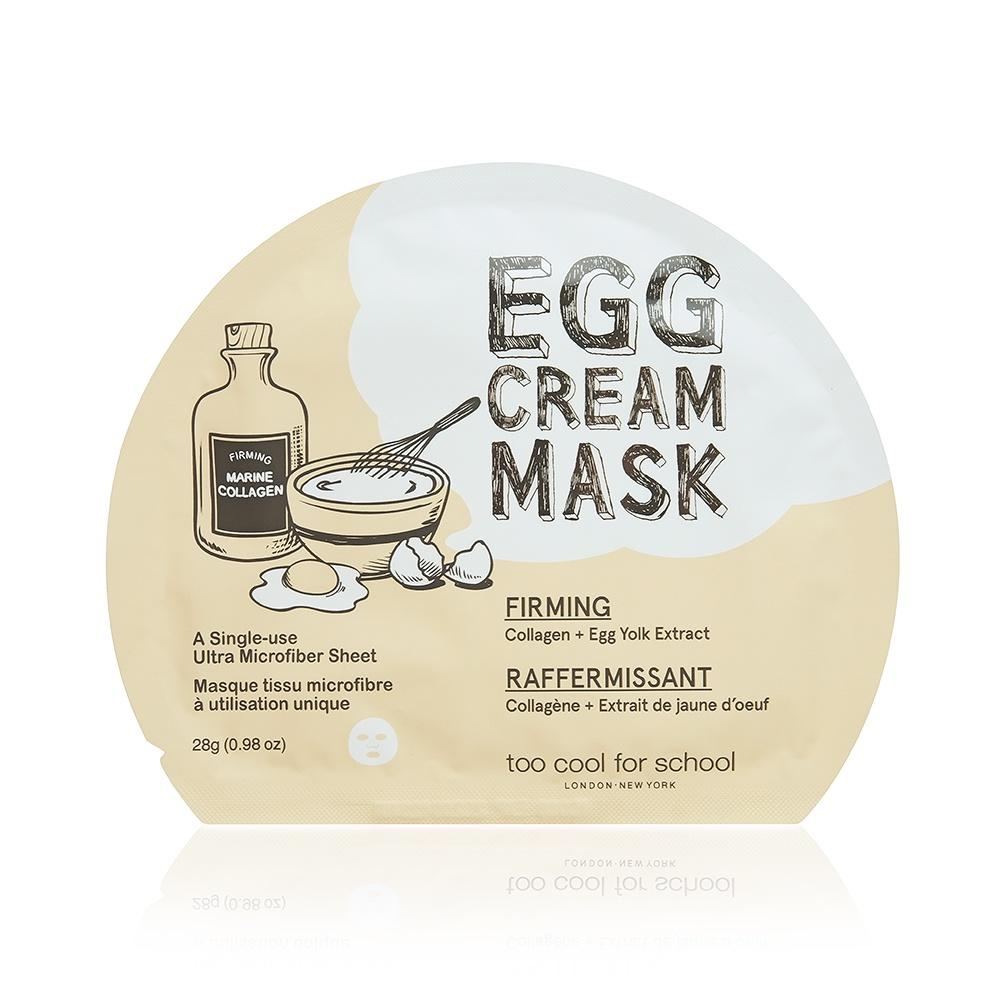 Тканевая маска для лица c яичным экстрактом Too Cool Egg cream mask - firming, 28гр. дарен расширенный любопытство ремонт комплект 20шт мужские и женские маски маски вода осветляет цвет лица подтягивающая маска