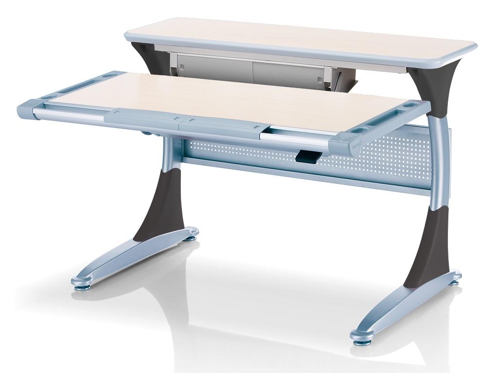 Ученический стол Comf-pro Гарвард с ящиком (цвет столешницы: беленый дуб, цвет ножек стола: серый)