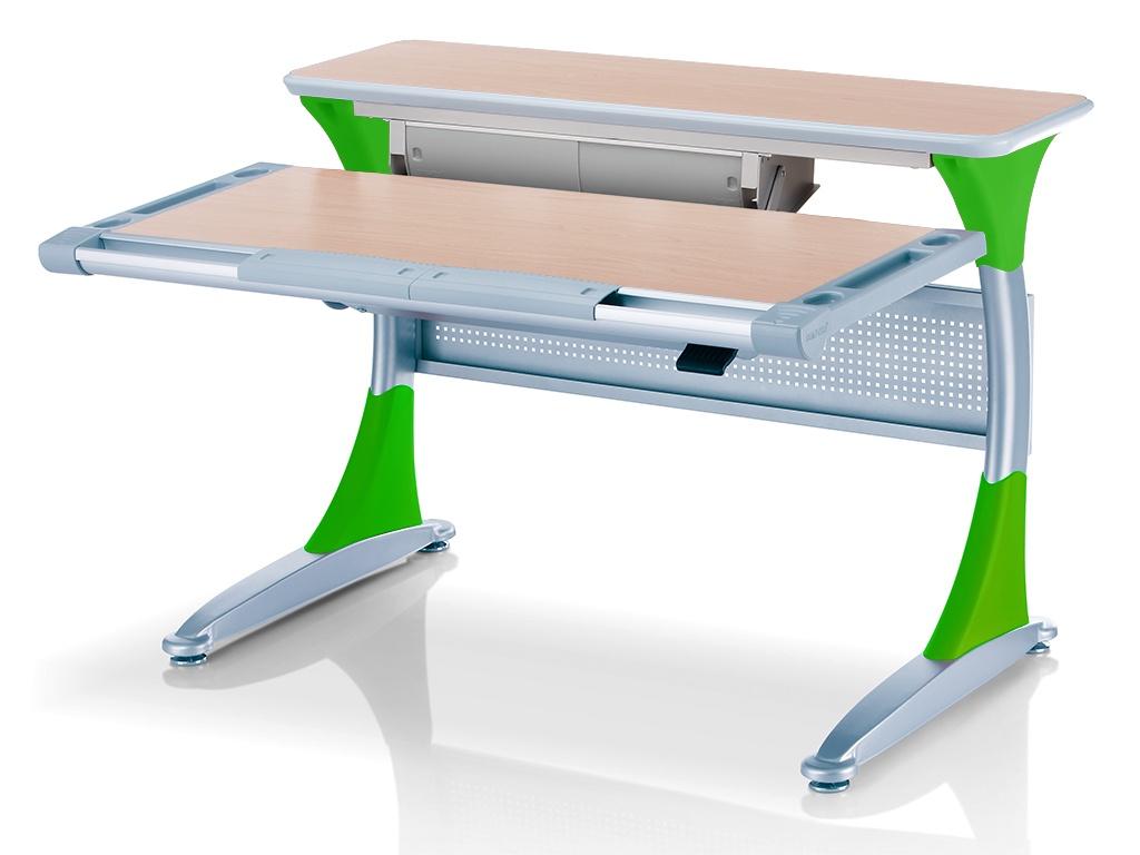 Ученический стол Comf-pro Гарвард с ящиком (цвет столешницы: клен, цвет ножек стола: зеленый)