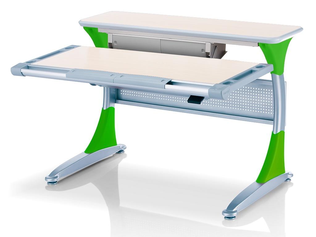 Ученический стол Comf-pro Гарвард с ящиком (цвет столешницы: беленый дуб, цвет ножек стола: зеленый)