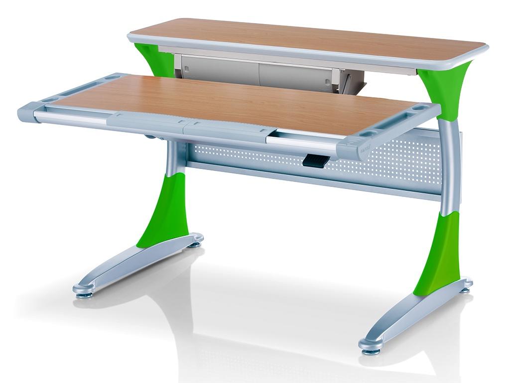 Ученический стол Comf-pro Гарвард с ящиком (цвет столешницы: бук, цвет ножек стола: зеленый)