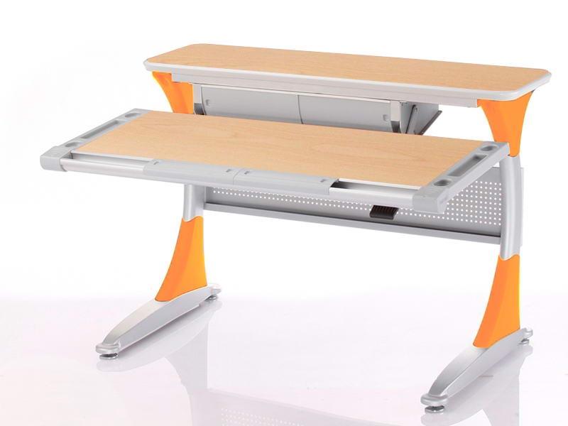Ученический стол Comf-pro Гарвард с ящиком (цвет столешницы: клен, цвет ножек стола: оранжевый)