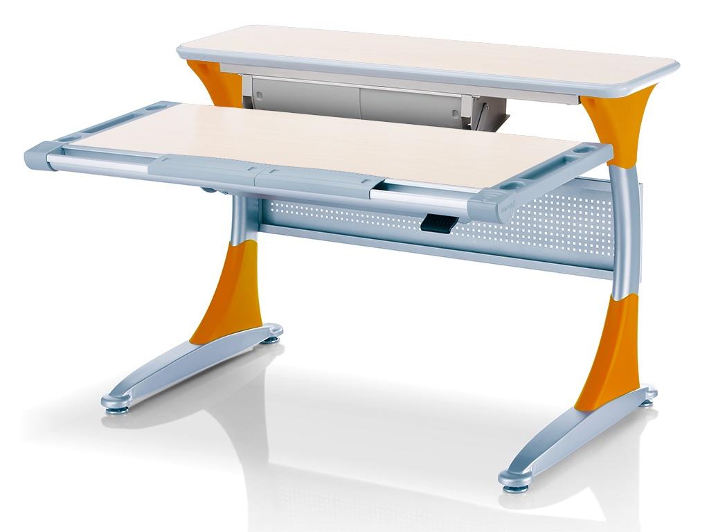 Ученический стол Comf-pro Гарвард с ящиком (цвет столешницы: беленый дуб, цвет ножек стола: оранжевый)