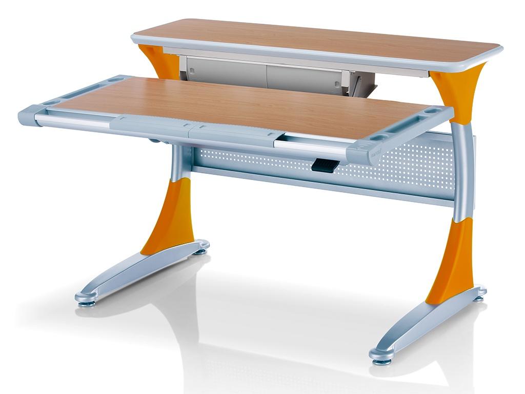 Ученический стол Comf-pro Гарвард с ящиком (цвет столешницы: бук, цвет ножек стола: оранжевый)