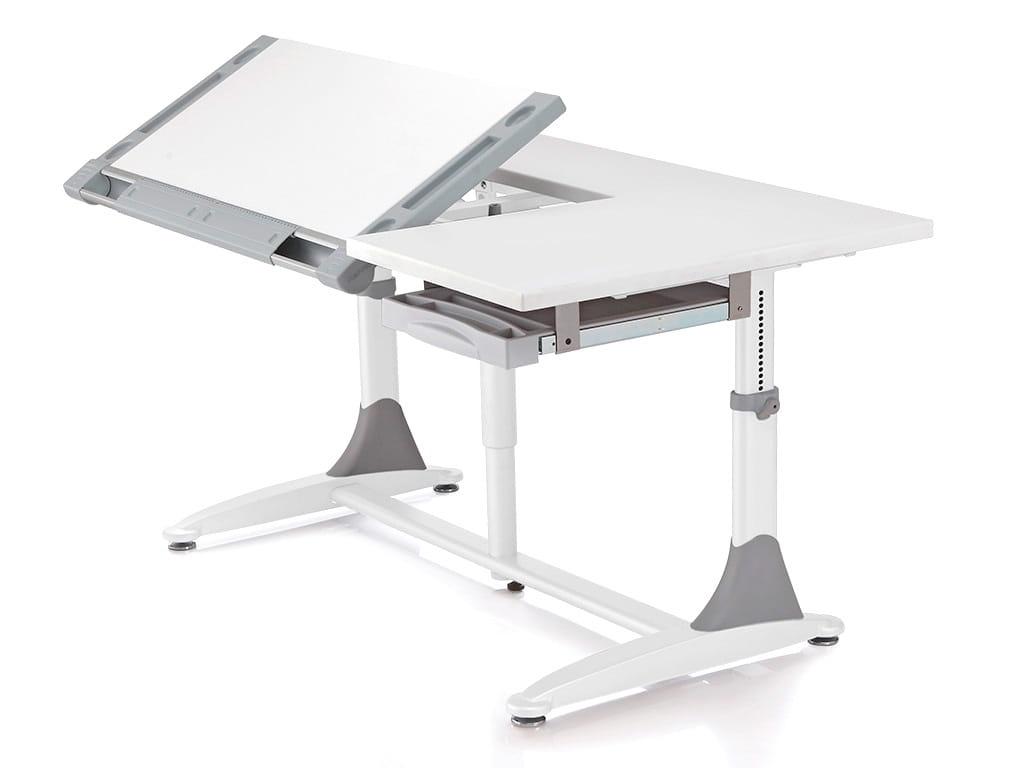 Парта трансформер для детей Comf-pro King Desk (цвет столешницы: белый, цвет ножек стола: серый)
