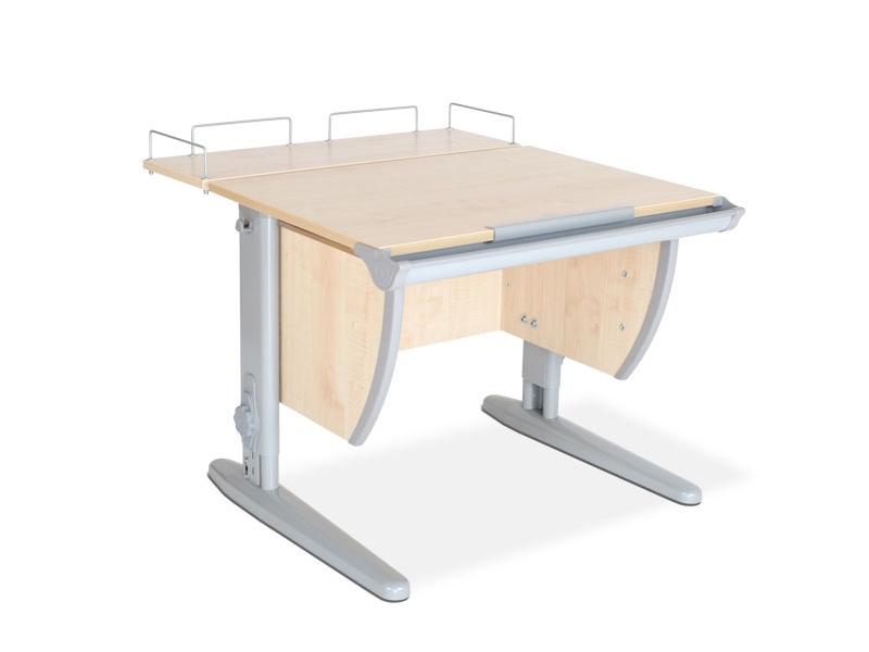 Парта ДЭМИ СУТ-14-01 75х55 см + задняя приставка (цвет столешницы: клен, цвет ножек стола: серый)