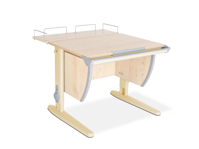 Парта ДЭМИ СУТ-14-01 75х55 см + задняя приставка (цвет столешницы: клен, цвет ножек стола: бежевый)