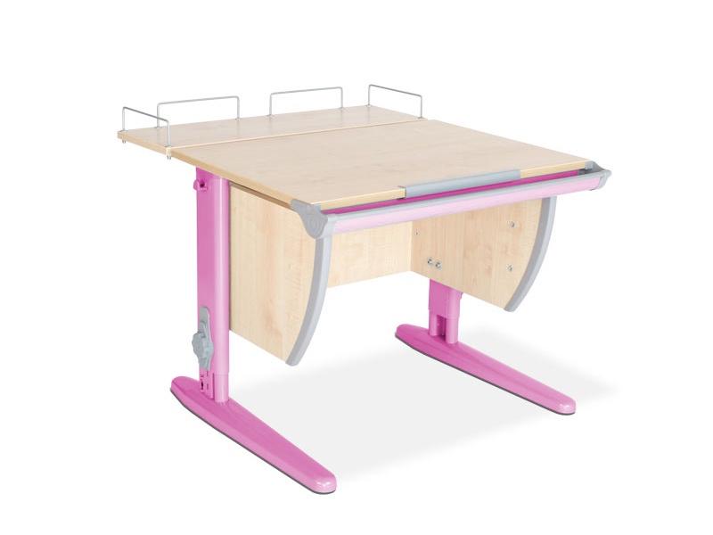 Парта ДЭМИ СУТ-14-01 75х55 см + задняя приставка (цвет столешницы: клен, цвет ножек стола: розовый)