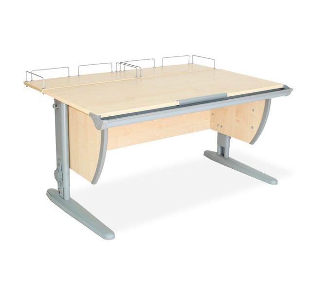 Парта ДЭМИ СУТ-15-01 120х55 см + 2 задние приставки (цвет столешницы: клен, цвет ножек стола: серый)