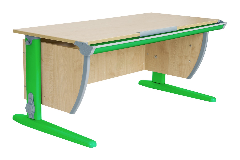 Парта ДЭМИ СУТ-15-01 120х55 см + 2 задние приставки (цвет столешницы: клен, цвет ножек стола: зеленый)