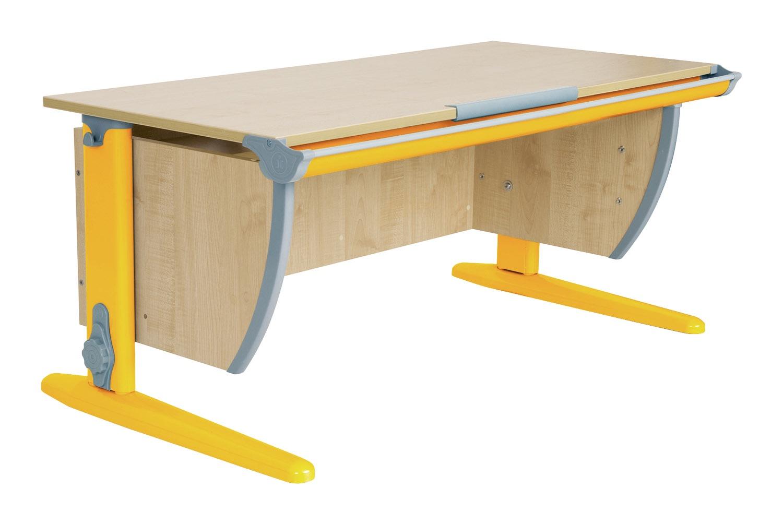 Парта ДЭМИ СУТ-15-01 120х55 см + 2 задние приставки (цвет столешницы: клен, цвет ножек стола: оранжевый)