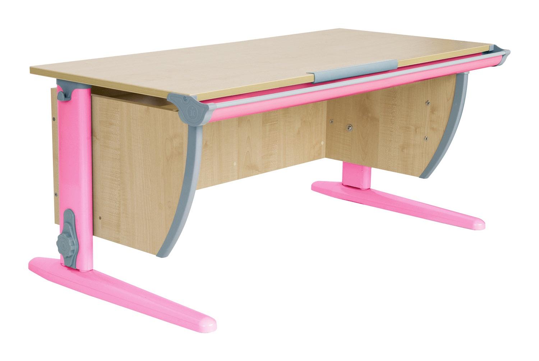 Парта ДЭМИ СУТ-15-01 120х55 см + 2 задние приставки (цвет столешницы: клен, цвет ножек стола: розовый)