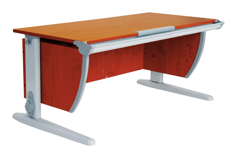 Парта ДЭМИ СУТ-15-01 120х55 см + 2 задние приставки (цвет столешницы: яблоня, цвет ножек стола: серый)