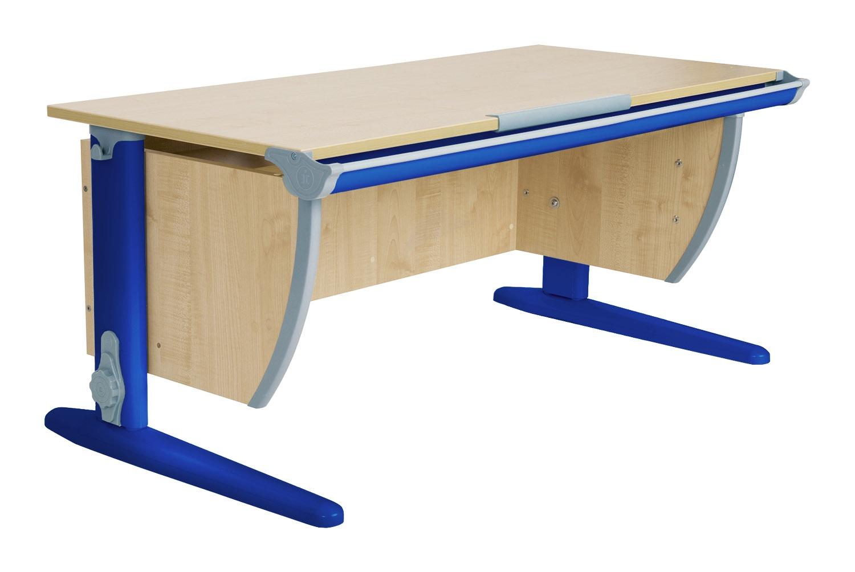 Парта ДЭМИ СУТ-15-02 120х55 см + 2 задние и боковая приставки (цвет столешницы: клен, цвет ножек стола: синий)