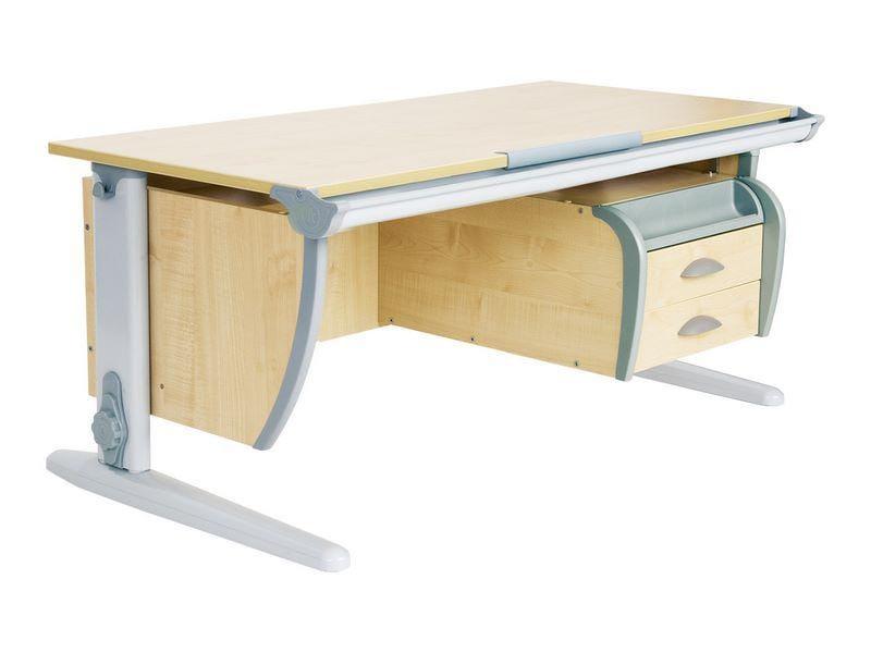 Парта ДЭМИ СУТ-15-03 120х55 см + подвесная тумба (цвет столешницы: клен, цвет ножек стола: серый)