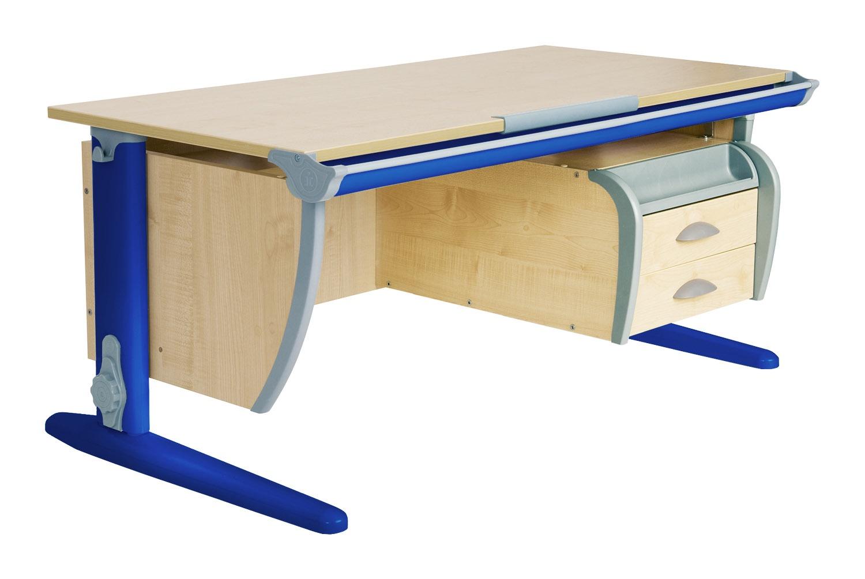Парта ДЭМИ СУТ-15-03 120х55 см + подвесная тумба (цвет столешницы: клен, цвет ножек стола: синий)