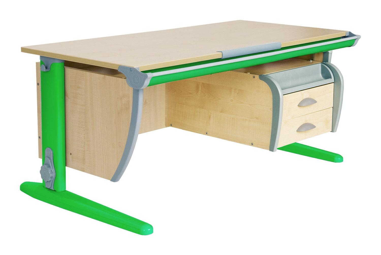 Парта ДЭМИ СУТ-15-03 120х55 см + подвесная тумба (цвет столешницы: клен, цвет ножек стола: зеленый)