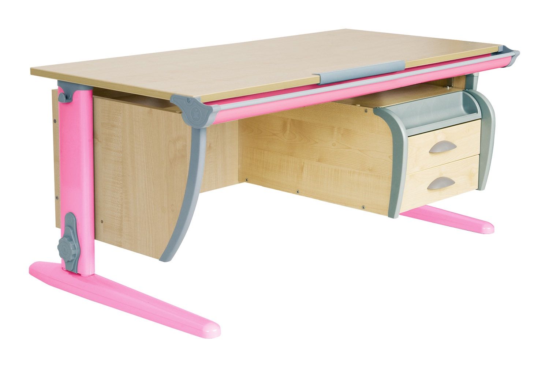 Парта ДЭМИ СУТ-15-03 120х55 см + подвесная тумба (цвет столешницы: клен, цвет ножек стола: розовый)