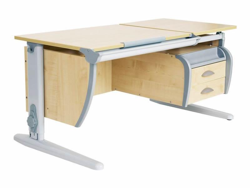 Парта ДЭМИ 120Х55 см + подвесная тумба (СУТ 17-03) (цвет столешницы: клен, цвет ножек стола: серый)