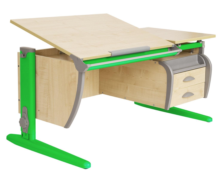 Парта ДЭМИ 120Х55 см + подвесная тумба (СУТ 17-03) (цвет столешницы: клен, цвет ножек стола: зеленый)