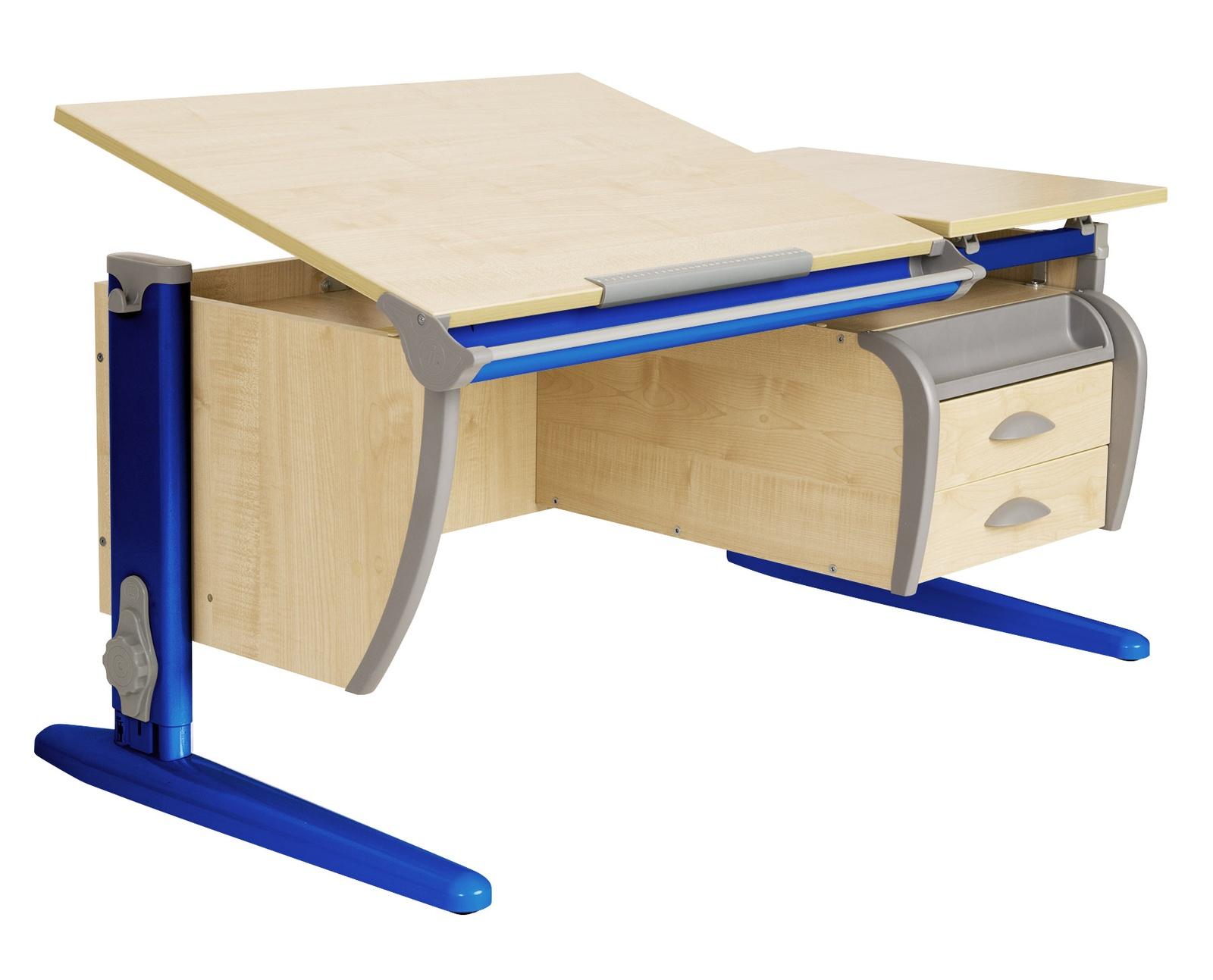 Парта ДЭМИ 120Х55 см + подвесная тумба (СУТ 17-03) (цвет столешницы: клен, цвет ножек стола: синий)