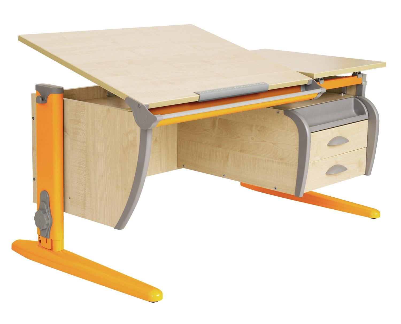 Парта ДЭМИ 120Х55 см + подвесная тумба (СУТ 17-03) (цвет столешницы: клен, цвет ножек стола: оранжевый)