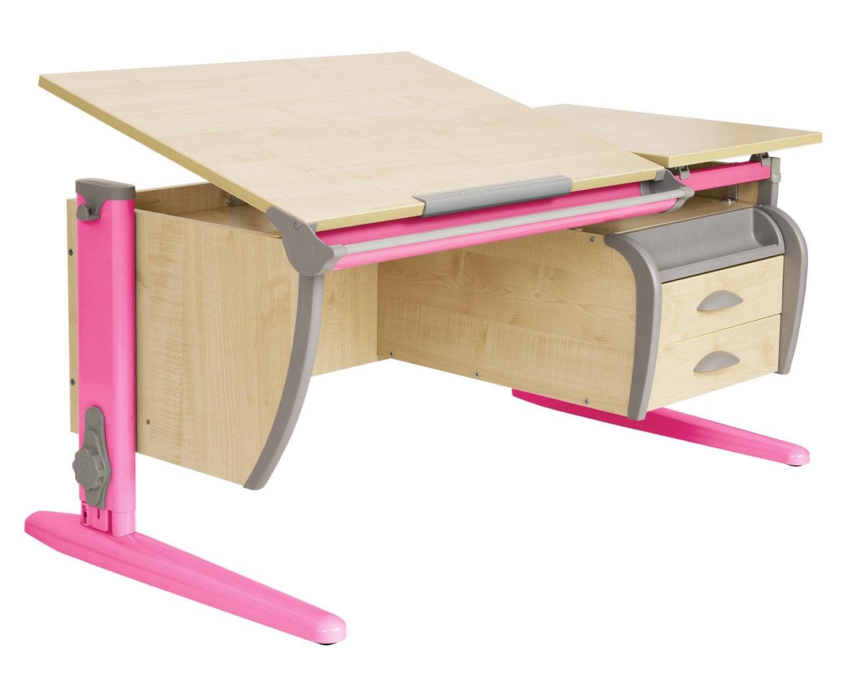 Парта ДЭМИ 120Х55 см + подвесная тумба (СУТ 17-03) (цвет столешницы: клен, цвет ножек стола: розовый)