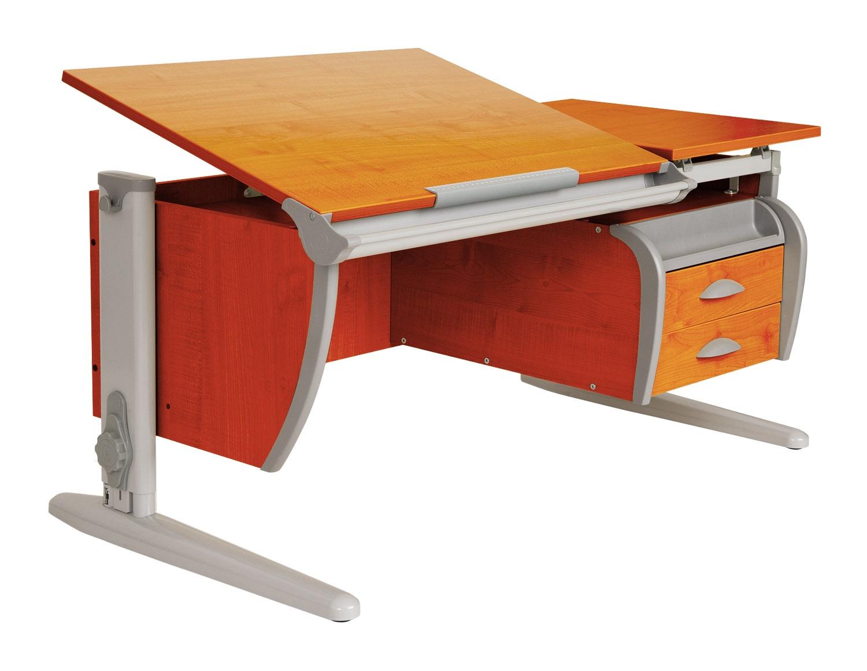 Парта ДЭМИ 120Х55 см + подвесная тумба (СУТ 17-03) (цвет столешницы: яблоня, цвет ножек стола: серый)