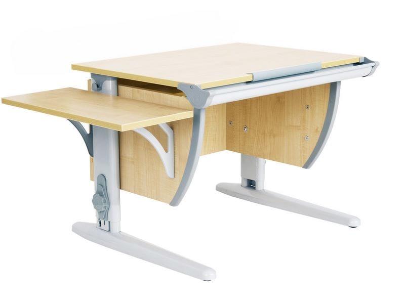Парта Дэми (Деми) СУТ 14К (парта 55 см+боковая приставка) (цвет столешницы: клен, цвет ножек стола: серый)