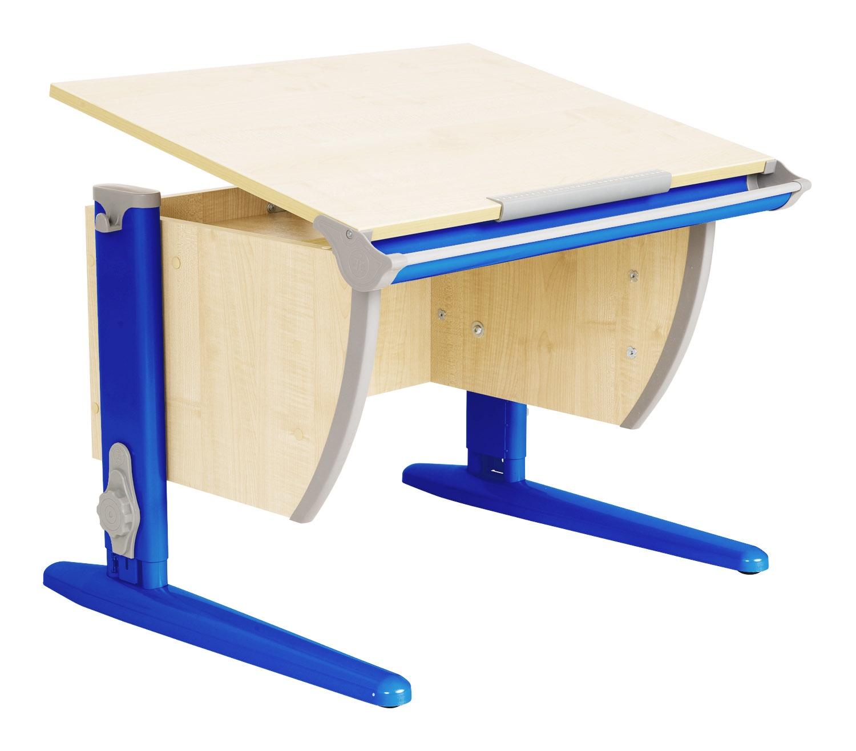 Парта Дэми (Деми) СУТ 14К (парта 55 см+боковая приставка) (цвет столешницы: клен, цвет ножек стола: синий)