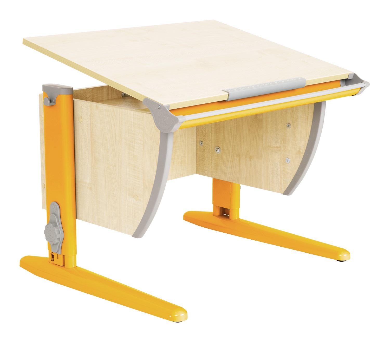 Парта Дэми (Деми) СУТ 14К (парта 55 см+боковая приставка) (цвет столешницы: клен, цвет ножек стола: оранжевый)