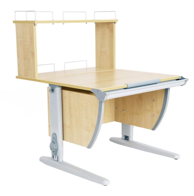 Парта Дэми (Деми) СУТ 14-01Д (парта 75 см+задняя двухъярусная приставка) (цвет столешницы: клен, цвет ножек стола: серый)