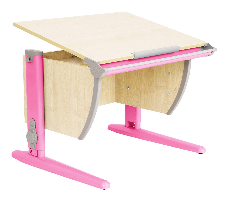 Парта Дэми (Деми) СУТ 14-01Д (парта 75 см+задняя двухъярусная приставка) (цвет столешницы: клен, цвет ножек стола: розовый)
