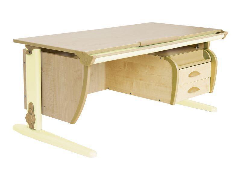 Парта Дэми (Деми) СУТ 15-04Д (парта 120 см+задняя приставка+двухъярусная задняя приставка+подвесная тумба) (цвет столешницы: клен, цвет ножек стола: серый)