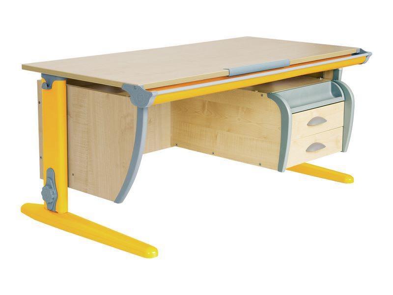 Парта Дэми (Деми) СУТ 15-04Д (парта 120 см+задняя приставка+двухъярусная задняя приставка+подвесная тумба) (цвет столешницы: клен, цвет ножек стола: синий)