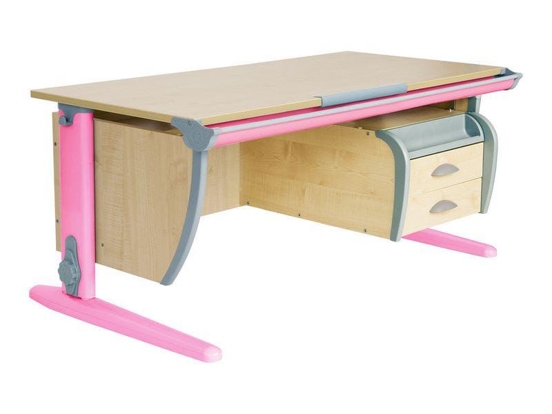 Парта Дэми (Деми) СУТ 15-04Д (парта 120 см+задняя приставка+двухъярусная задняя приставка+подвесная тумба) (цвет столешницы: клен, цвет ножек стола: розовый)