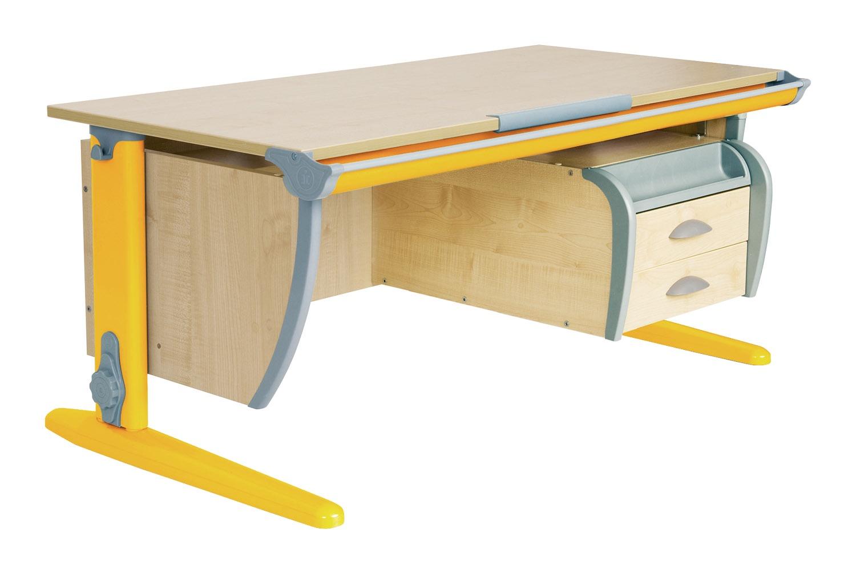 Парта Дэми (Деми) СУТ 15-04Д (парта 120 см+задняя приставка+двухъярусная задняя приставка+подвесная тумба) (цвет столешницы: клен, цвет ножек стола: оранжевый)