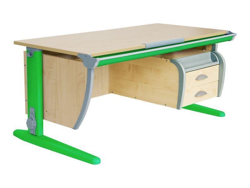 Парта Дэми (Деми) СУТ 15-04Д (парта 120 см+задняя приставка+двухъярусная задняя приставка+подвесная тумба) (цвет столешницы: яблоня, цвет ножек стола: серый)