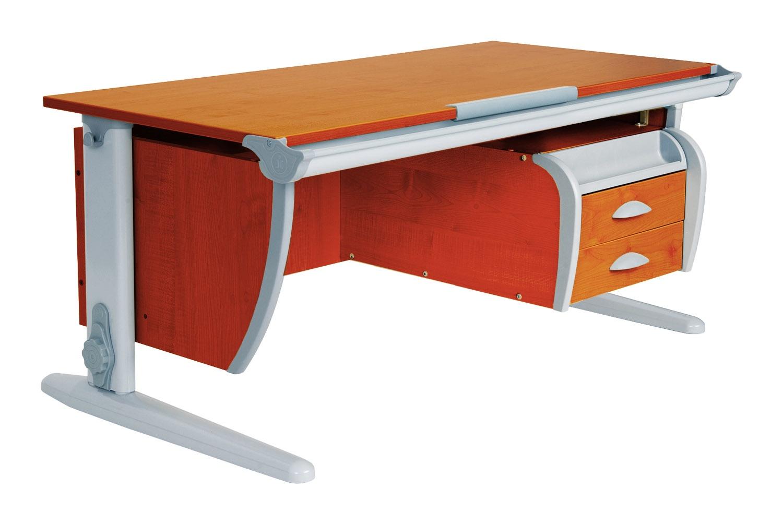 Парта Дэми (Деми) СУТ 15-04Д2 (парта 120 см+две двухъярусные задние приставки+подвесная тумба) (цвет столешницы: яблоня, цвет ножек стола: серый)