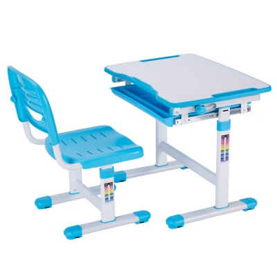 Комплект парта и стул Mealux EVO-06 (цвет столешницы: белый, цвет ножек стола: голубой) marvielab пиджак
