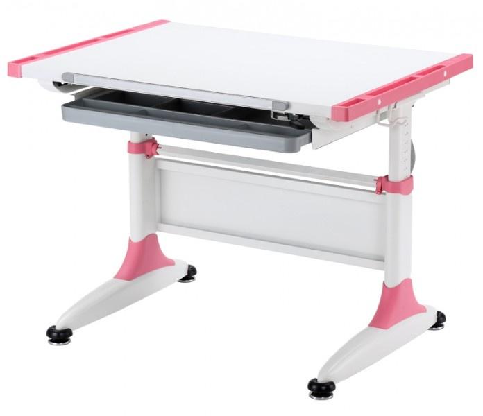 Парта детская KidsMaster K1-DURER Desk (цвет столешницы: белый, цвет боковин: розовый, цвет ножек стола: белый)