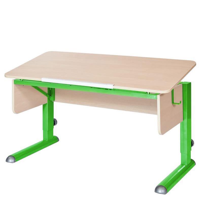 Парта для школьника для дома Астек МОНО-2 (цвет столешницы: береза, цвет ножек стола: зеленый)