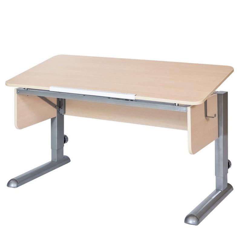 Парта для школьника для дома Астек МОНО-2 (цвет столешницы: береза, цвет ножек стола: серый)