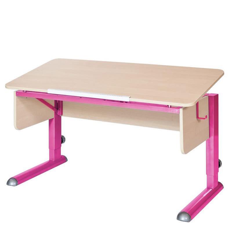 Парта для школьника для дома Астек МОНО-2 (цвет столешницы: береза, цвет ножек стола: розовый)